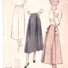 Vintage Pattern Butterick 5235 Three-Gore Skirt with Button Detail 40s Waist 26 Unprint