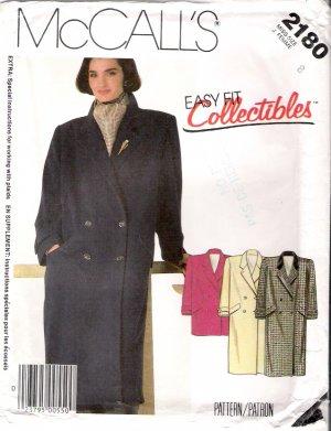 Vintage Pattern McCalls 2180 Misses Coat or Car Coat 80s Size 8 UNCUT