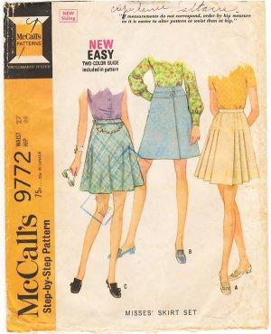 Vintage Pattern McCall's 9772 Skirts Set Waist 27 Hip 38