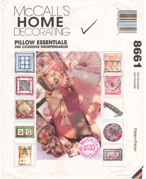 Pattern McCall's 8661 Home Decorating Pillow Essentials 90s UNCUT