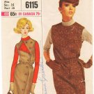 Vintage Pattern Simplicity 6115 Jumper and Blouse 60s Size 16 B36