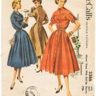 Vintage McCall&#39;s 3386 Dress with Roll-Up Sleeves 50s Size 14 B32