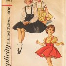 Vintage Pattern Simplicity 3650 Child's Blouse and Reversible Skirt 50s Size 5