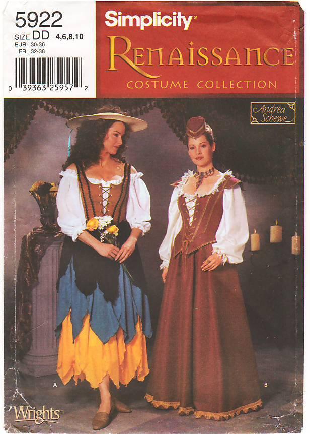 Pattern Simplicity 5922 Misses' Renaissance Costumes Dress Size 4-10 B30-36 UNCUT