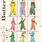 Vintage Pattern Butterick 3169 Child Clown Costumes 60s Size 6 B24