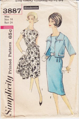 Vintage Pattern Simplicity 3887 Slenderette Dress and Jacket 60s Size 14 B34