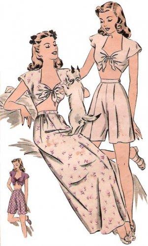 Repro Vintage Pattern Pajama or Playsuit 40s No1 on Printable PDF B34
