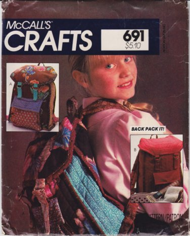 Vintage Pattern McCall's 8671 Backpack 80s UNCUT