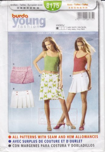 Pattern Burda Young 8175 Skirts Low Waist Size All UNCUT