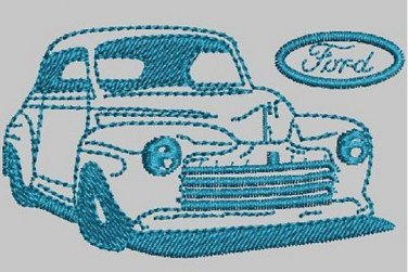 Vintage Car Ford 46 Machine Embroidery Design