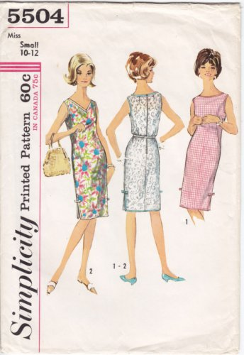 Vintage Pattern Simplicity 5504 Sleeveless Dress 60s Size Small B31-32