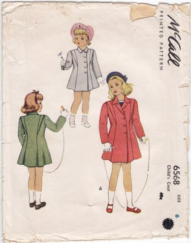 Vintage Pattern McCall Child Girls' Coat 40s Size 6