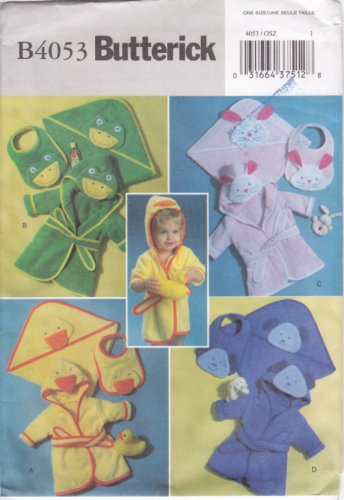 Pattern Butterick 4053 Infants Robe Towel and Bib One Size