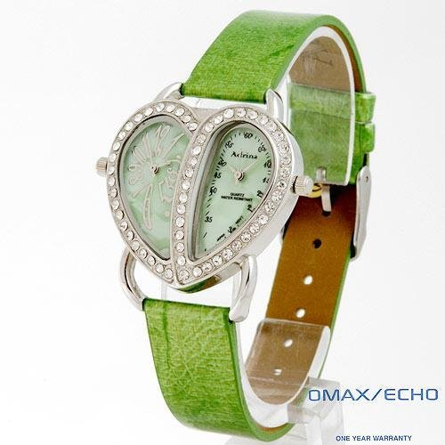 ADRINA Lady's Watch with Mother of Pearl and Green Leather Strap