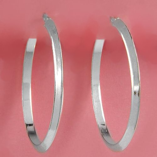 Italian Bevel Oval Hoop Earrings