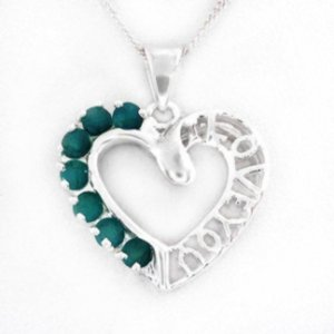 Heart Shaped Necklace with Genuine Emeralds