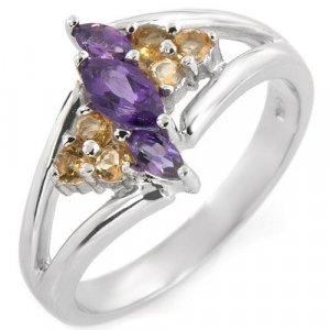 Elegant Ring with Genuine Precious Stones
