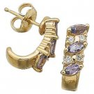 14 K Yellow Gold Genuine Tanzanite and Diamond Earrings