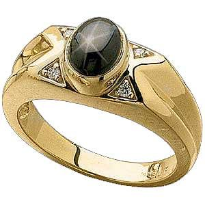 14 K Gold Mens Black Star Sapphire and Diamond Ring