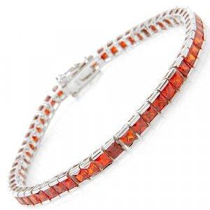 Stylish Bracelet with Ruby Cubic Zirconia Gems