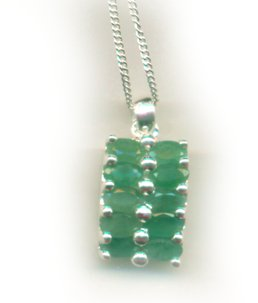 Genuine Emeralds Pendant Necklace