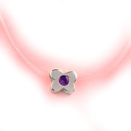 Sterling Silver Flower Necklace with Amethyst