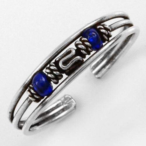 Genuine Blue Crystals Lady's Adjustable Size Ring