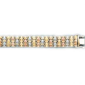 3 Tone Woven Style Lady's Bracelet in  Italian Gold (Style-1)