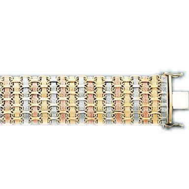 3 Tone Woven Style Ladys Bracelet in  Italian Gold (Style-3)