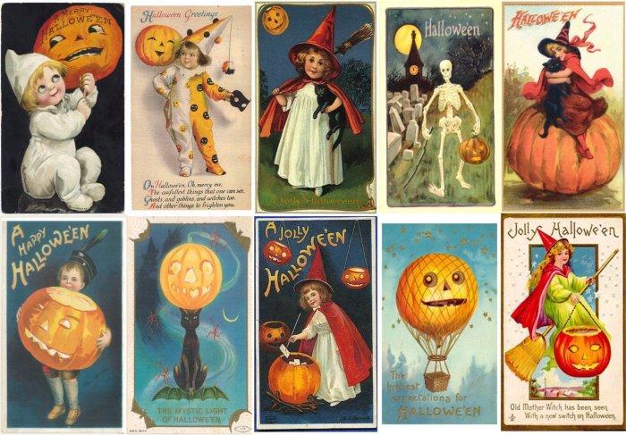 Set 10 Vintage HALLOWEEN Postcard Fridge Locker Magnets