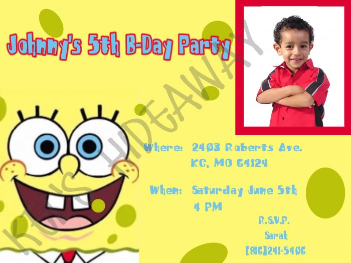 Custom SPONGEBOB Birthday Party INVITATIONS - Uprint !