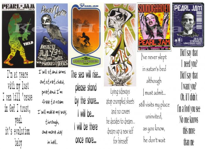 6 PEARL JAM Eddie Vedder Poster Song Bookmark (s)
