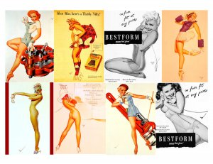 8 George PETTY Vintage PIN UP Girls Toolbox Magnets