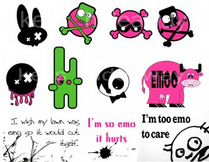Set of 11 EMO punk FuNNy Humor Saying STICKERS