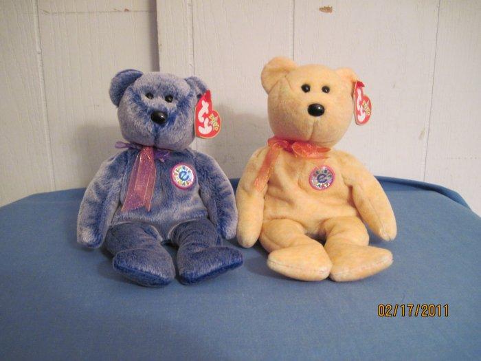Beanie Babies  Bears Sunny & Periwinkle