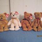 Beanie Babies Curly,Fuzz, Cashew, Huggy