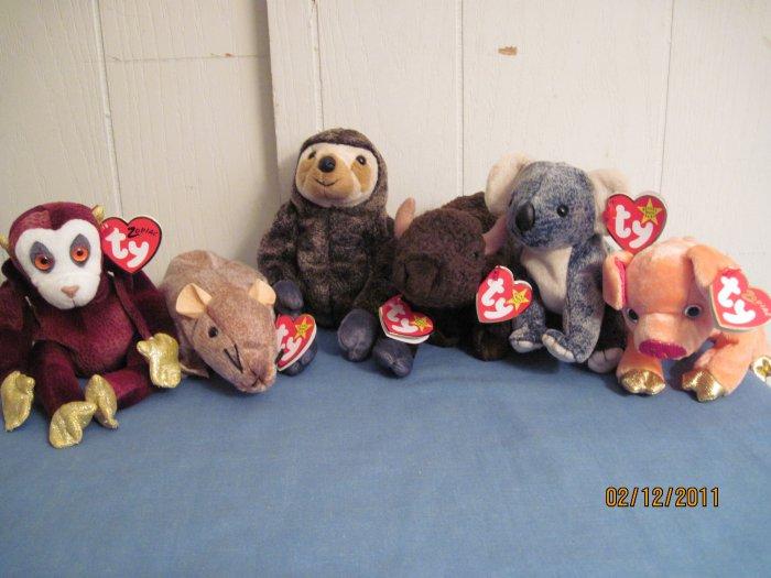 Beanie Babies Tiptoe, Slowpoke, Roam, Eucalyptus & Zodiac Pig & Monkey