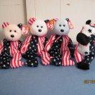Beanie Babies Spangle Red, white, Blue  & Lefty