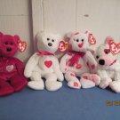Beanie Babies Valentio, Valentina, Smooch and Cupid