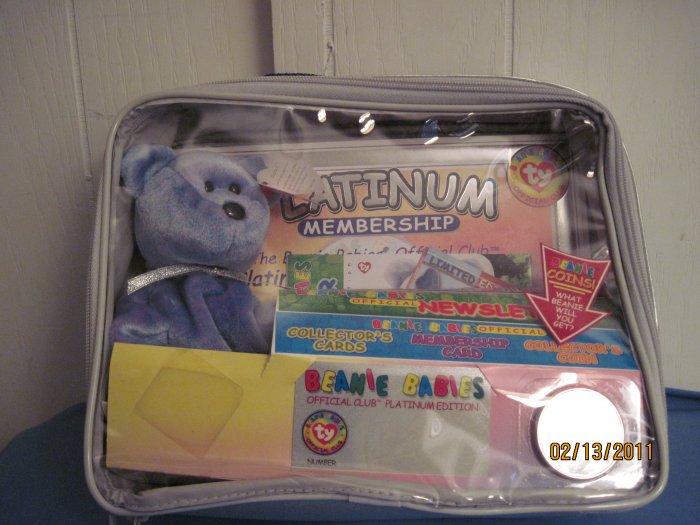 Beanie Baby Platinum bear with case