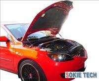 04~08 Mazda 3 Hatchback Silver Carbon Fiber Hood Damper h2