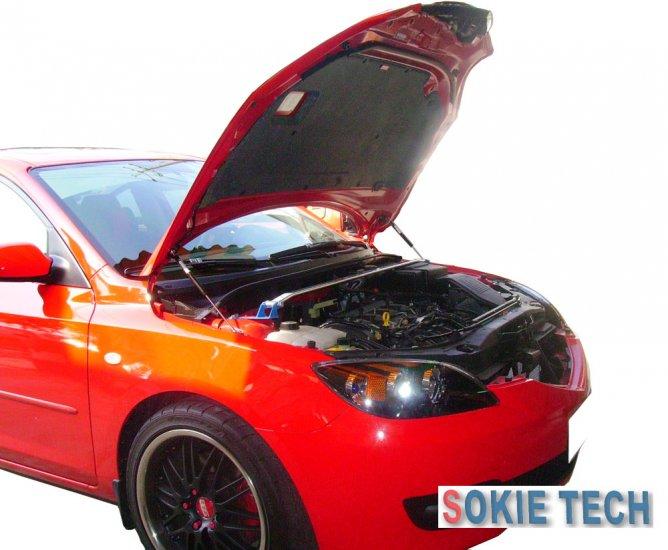 08 09 Mazda CX7 Silver Carbon Hood Shock Damper Lifter h3