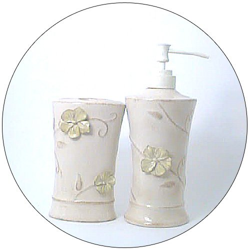 Lotion / Soap Dispenser & Toothbrush Holder (4 Hole) - Sand Color w/ Attached Flower