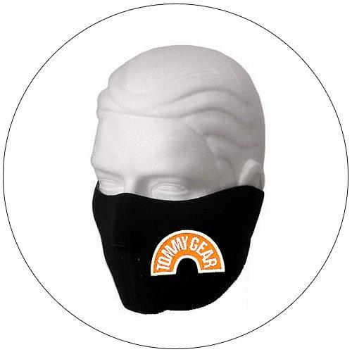 """Half Face Ski Mask - """"Tommy Gear"""" Black w/ Orange Glow-N-Dark - Hiking, Running, Cycling, etc."""