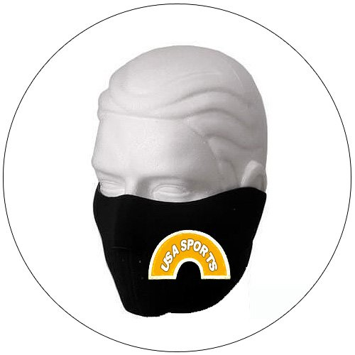 "Half Face Ski Mask - ""USA Sports"" - Black w/ Orange Glow-N-Dark - Hiking, Running, Cycling, etc."