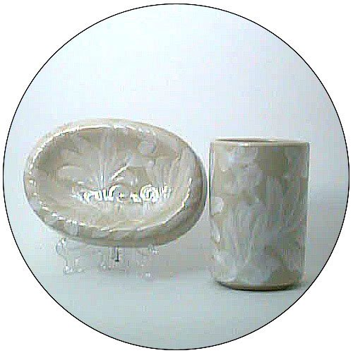 Toothbrush Holder / Tumbler & Soap Dish - Sand Color Leaf Print