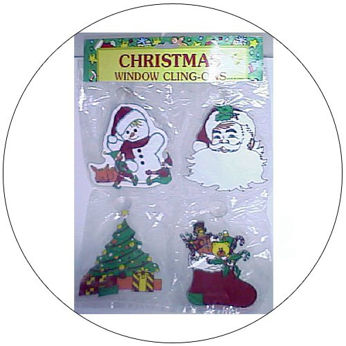 Window Clings w/ Suction Cup Holder - Christmas Theme.