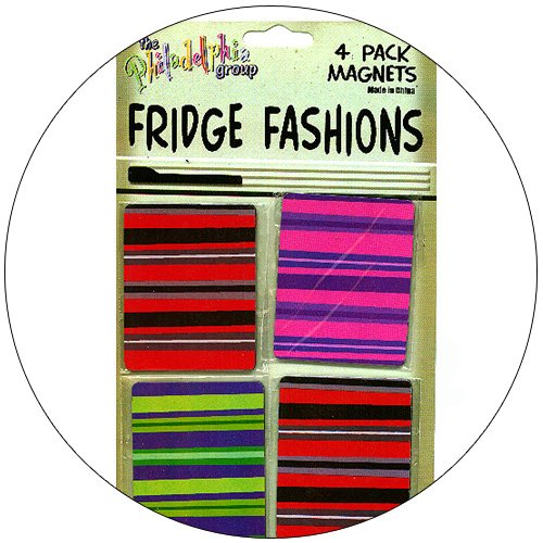 Fridge Fashions - Colorful Retro Stripes - 4 Pack Magnets