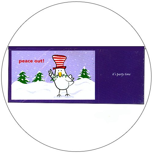 "Cute Snow Bird Greeting Invitation Postcards: ""Peace Out"" 12 Ct. - No. MGC202CC - mjZOOM"