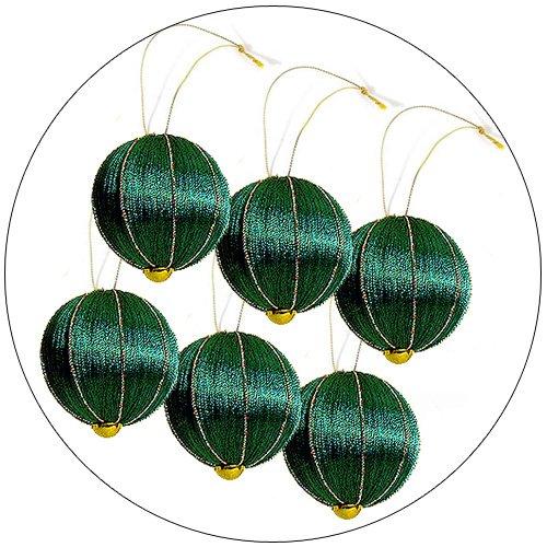 Christmas Tree Ornaments - Green Spun Thread w/ Multicolor Embellishments - Set of 6